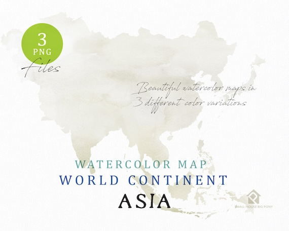 Asia - Continent Map, Watercolor Map, Digital Map, Map Clipart, Wall Art, Color Map Clip Art, Custom Map, Watercolor Map