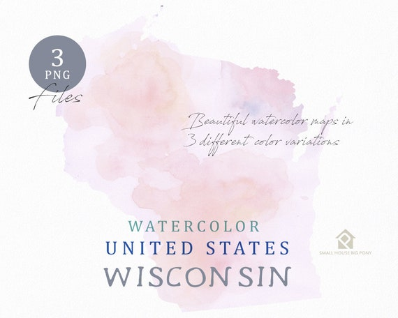 Wisconsin Map, Watercolor Map, Digital Map, Map Clipart, Wall Art, Color Map Clip Art, Custom Map, Watercolor Map