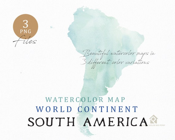 South America - Continent Map, Watercolor Map, Digital Map, Map Clipart, Wall Art, Color Map Clip Art, Custom Map, Watercolor Map