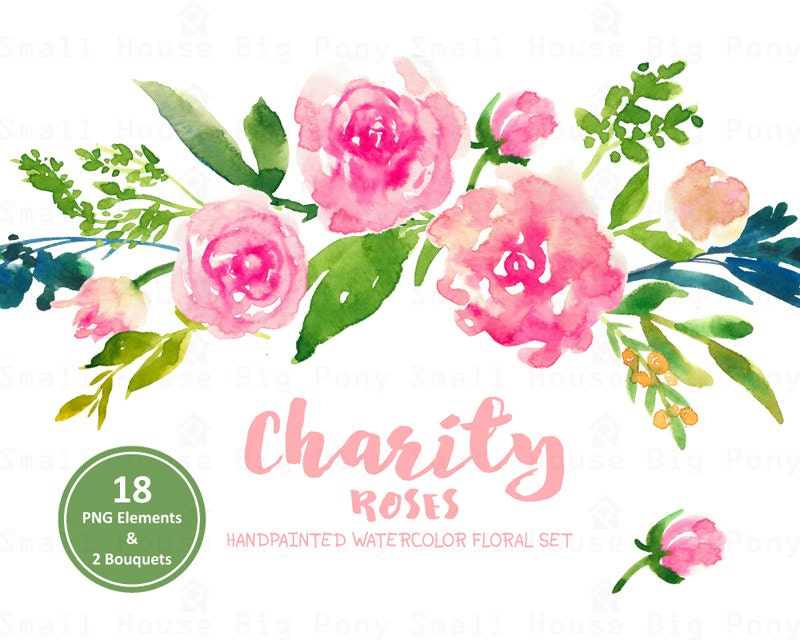Digital Clipart Watercolor Flower Pink Roses Clip Art Floral Bouquet Wedding Flowers Charity