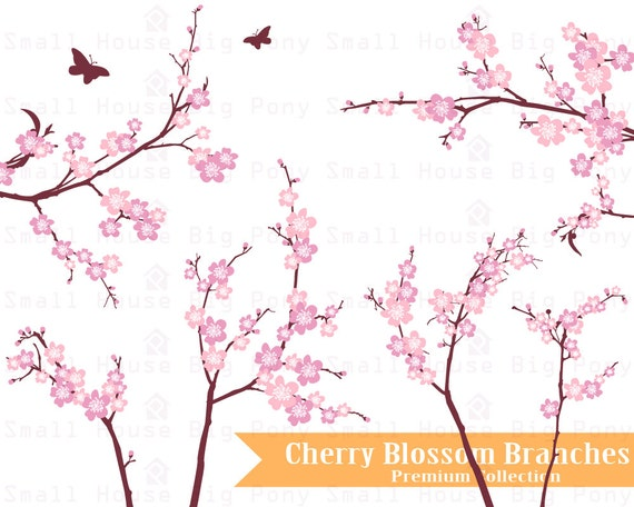 Cherry Blossom (Sakura) Clip art, Clipart -digital clip art set -1 JPG and 10 PNG files included in Zip