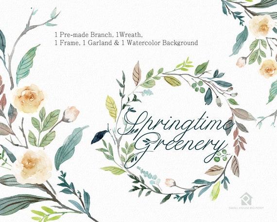Digital Clipart- Watercolor leaves  Clipart, wreath Clip art, leaf Clipart, wedding diy clip art- Springtime Greenery Set2