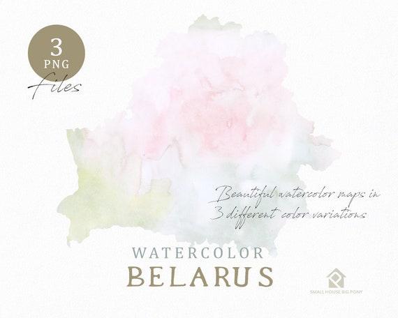 Belarus Map, Watercolor Map, Instant Download, Digital Map, Map Clipart, Wall Art, Color Map Clip Art, Custom Map, Watercolor Map