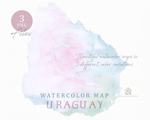 Uraguay Map, Watercolor Map, Digital Map, Map Clipart, Wall Art, Color Map Clip Art, Custom Map, Watercolor Map