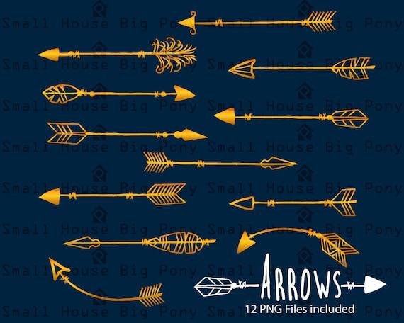 Digital Clipart- Gold clipart arrows, arrows clipart,clipart, Navaho clipart, arrows, Native American Style, Gold arrow clipart