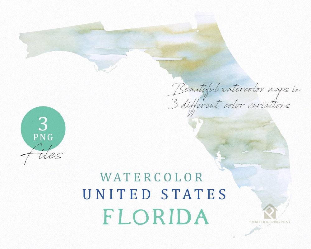 Florida Map Watercolor Map Digital Map Map Clipart Wall Art Color