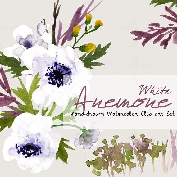 Anemones Watercolor Flowers clipart White- Handpainted flowers, Wedding Florals, Wedding Invitations, DIY Invitation, Watercolor Flowers