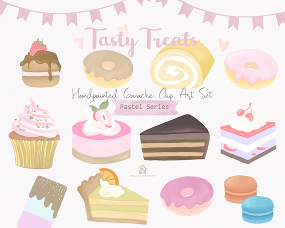 Pastel banners, pastel, banners, pastel cakes, pastries, gouache, macarons, french pastry - Tasty Treats Pastel Series