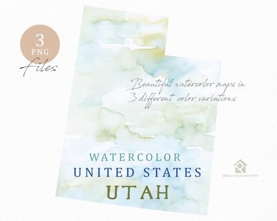 Utah Map, Watercolor Map, Digital Map, Map Clipart, Wall Art, Color Map Clip Art, Custom Map, Watercolor Map
