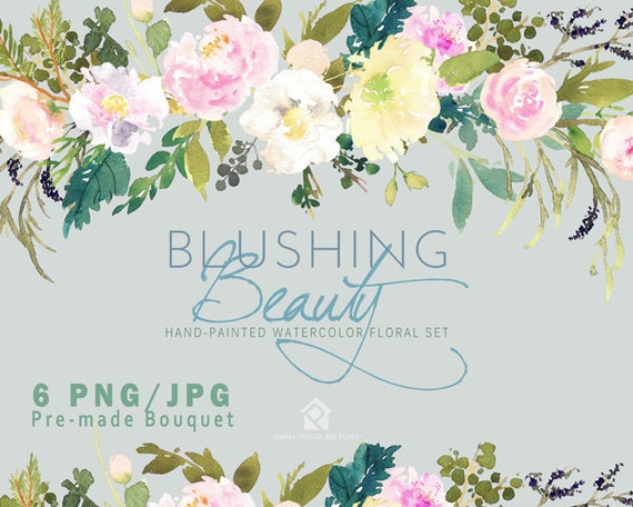 Watercolour Flower Clip Art Collection - Hand Painted Graphics,  pastel flower,  hand drawn clip art- Blushing Beauty Bouquets