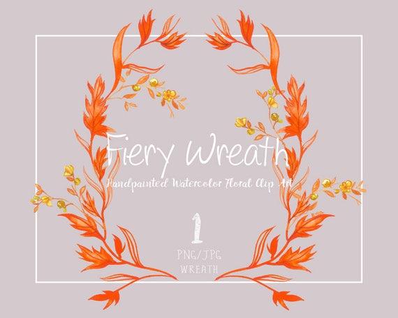 Digital Clipart- Watercolor Flower Clipart, wreath Clip art, Floral Bouquet Clipart, wedding flowers clip art- Fiery Wreath