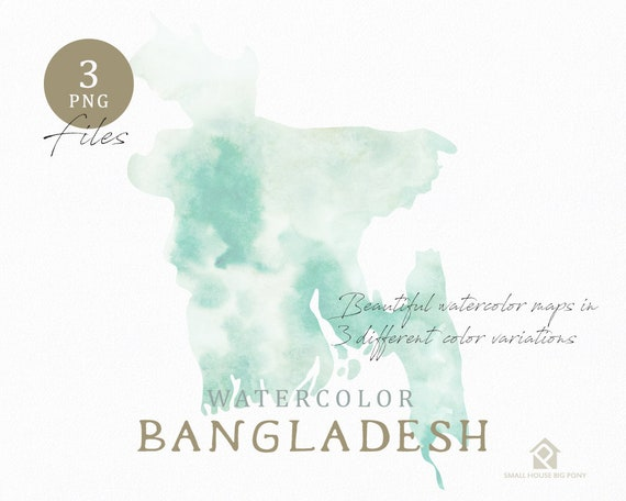 Bangladesh Map, Watercolor Map, Instant Download, Digital Map, Map Clipart, Wall Art, Color Map Clip Art, Custom Map, Watercolor Map