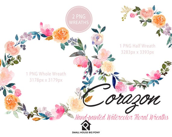 Digital Clipart- Watercolor Flower Clipart, peonies Clip art, Floral Bouquet Clipart, wedding flowers clip art- Corazon Wreath