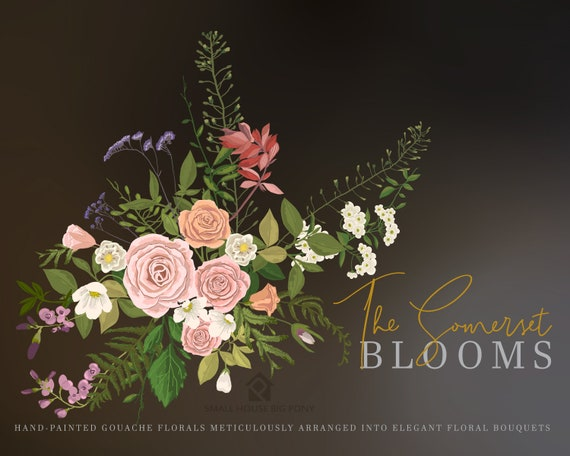 Gouache Flower Clip Art Collection - Hand Painted Graphics,  hand drawn clip art,  flower clip art - The Somerset Blooms Set