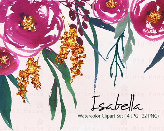 Watercolour Floral Clipart: Watercolour Clip Art/Rose/Individual PNG files/Hand Painted- Isabella