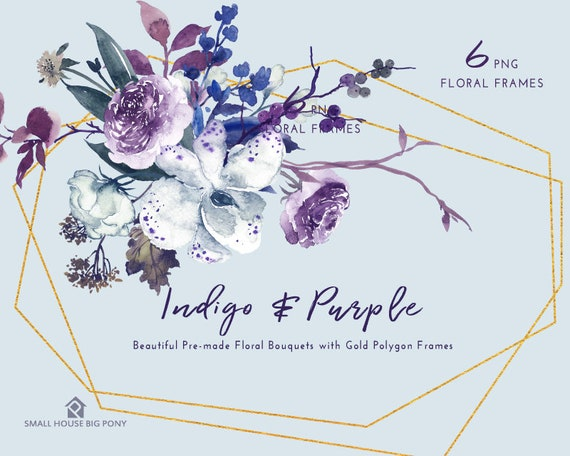 Digital Clipart- Watercolor Flower Clipart, peonies Clip art, wedding flowers clip art- Indigo & Purple Floral Frames