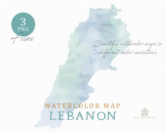 Lebanon Map, Watercolor Map, Instant Download, Digital Map, Map Clipart, Wall Art, Color Map Clip Art, Custom Map, Watercolor Map