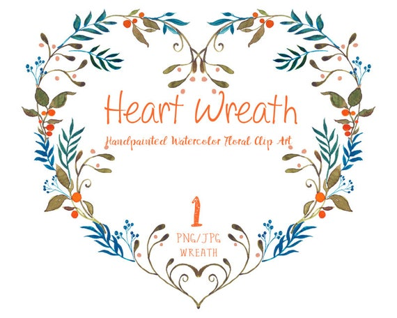 Blue and Orange Watercolor Flowers Wreath CLIPART- Hand-painted flowers, Wedding Florals,   Watercolor Flowers- Heart Wreath