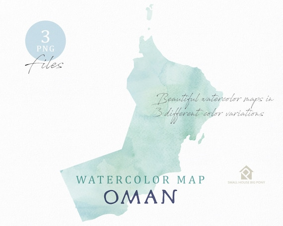 Oman Map, Watercolor Map, Instant Download, Digital Map, Map Clipart, Wall Art, Color Map Clip Art, Custom Map, Watercolor Map