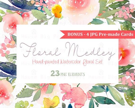 Digital Clipart- Watercolor Flower Clipart, peonies Clip art, Floral Bouquet Clipart, wedding flowers clip art- Floral Medley Elements