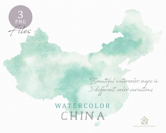 China Map, Watercolor Map, Instant Download, Digital Map, Map Clipart, Wall Art, Color Map Clip Art, Custom Map, Watercolor Map