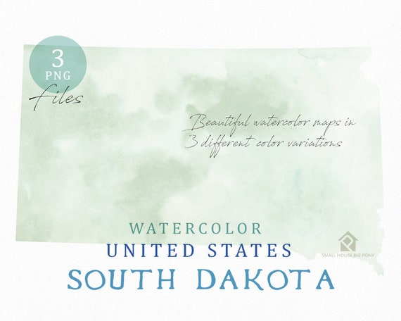 South Dakota Map, Watercolor Map, Digital Map, Map Clipart, Wall Art, Color Map Clip Art, Custom Map, Watercolor Map