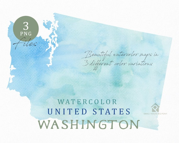 Washington Map, Watercolor Map, Digital Map, Map Clipart, Wall Art, Color Map Clip Art, Custom Map, Watercolor Map