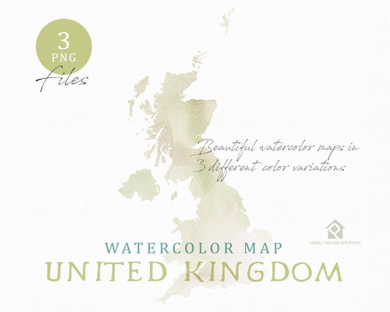 United Kingdom Map, Watercolor Map, Instant Download, Digital Map, Map Clipart, Wall Art, Color Map Clip Art, Custom Map, Watercolor Map
