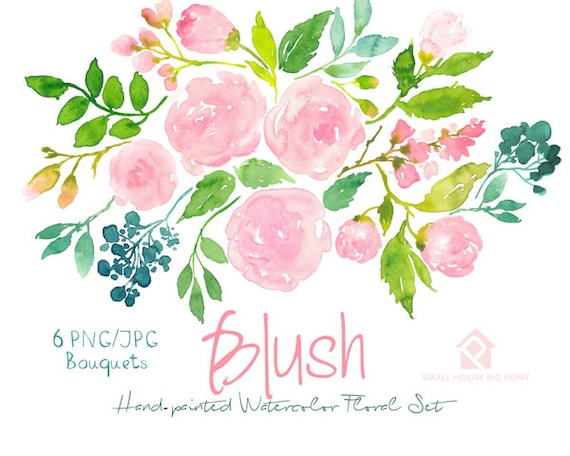 Digital Clipart- Watercolor Flower Clipart, Pink Roses Clip art, Floral Bouquet Clipart, wedding flowers clip art- Blush Bouquets