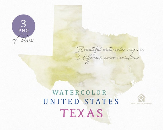 Texas Map, Watercolor Map, Digital Map, Map Clipart, Wall Art, Color Map Clip Art, Custom Map, Watercolor Map