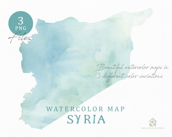 Syria Map, Watercolor Map, Instant Download, Digital Map, Map Clipart, Wall Art, Color Map Clip Art, Custom Map, Watercolor Map