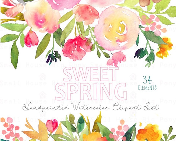 Digital Clipart- Watercolor Flower Clipart, peonies Clip art, Floral Bouquet Clipart, wedding flowers clip art- Sweet Spring Elements