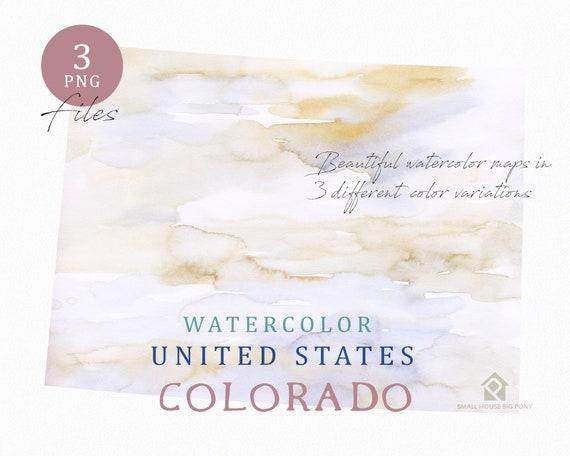 Colorado Map, Watercolor Map, Digital Map, Map Clipart, Wall Art, Color Map Clip Art, Custom Map, Watercolor Map