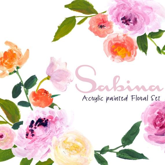 Acrylic Floral Clipart: acrylic Roses, Acrylic Clip Art/Rose/Individual PNG files/Hand Painted-Sabina