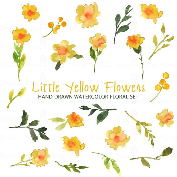 Watercolour Floral Clipart. Handmade, watercolour clipart, wedding diy elements, flowers - Little Yellow Flowers Set