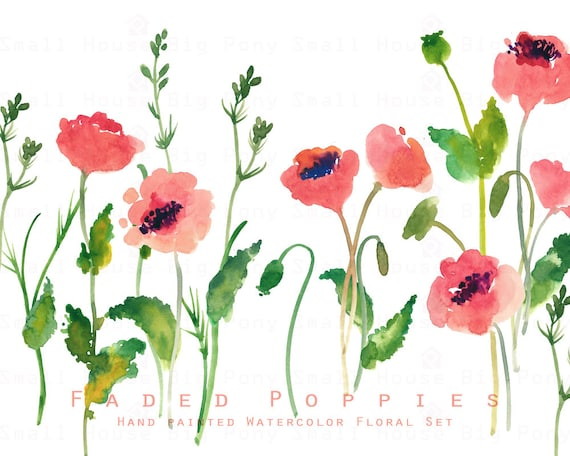 Watercolour Floral Clipart. Handmade, watercolour clipart, wedding diy elements, flowers -Faded Poppies