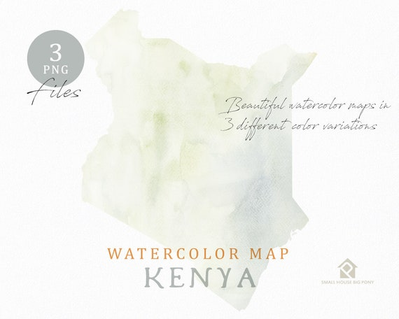 Kenya Map, Watercolor Map, Instant Download, Digital Map, Map Clipart, Wall Art, Color Map Clip Art, Custom Map, Watercolor Map