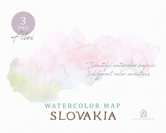 Slovakia Map, Watercolor Map, Instant Download, Digital Map, Map Clipart, Wall Art, Color Map Clip Art, Custom Map, Watercolor Map