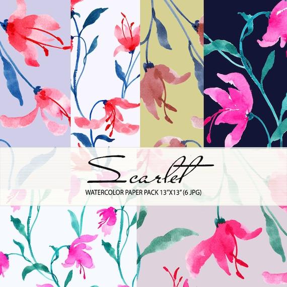 Watercolour Floral Digital Paper Pack: Flowers, Watercolour Clip Art/Flower/Watercolor Paper Pack-Scarlet