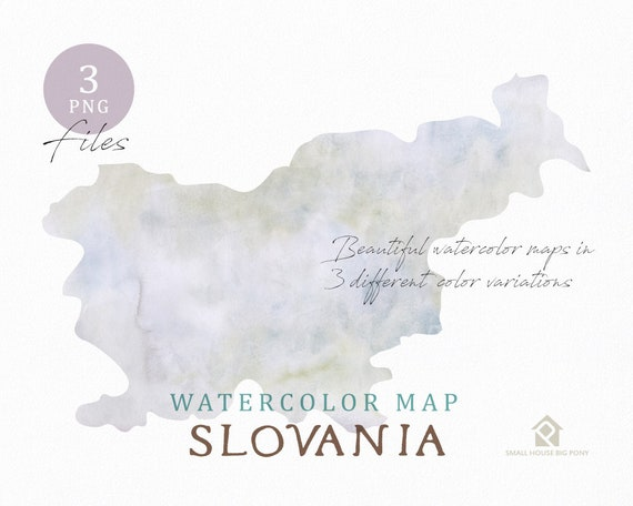 Slovania Map, Watercolor Map, Instant Download, Digital Map, Map Clipart, Wall Art, Color Map Clip Art, Custom Map, Watercolor Map