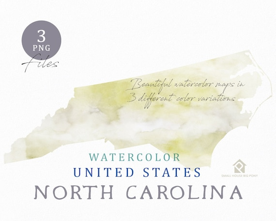 North Carolina Map, Watercolor Map, Digital Map, Map Clipart, Wall Art, Color Map Clip Art, Custom Map, Watercolor Map