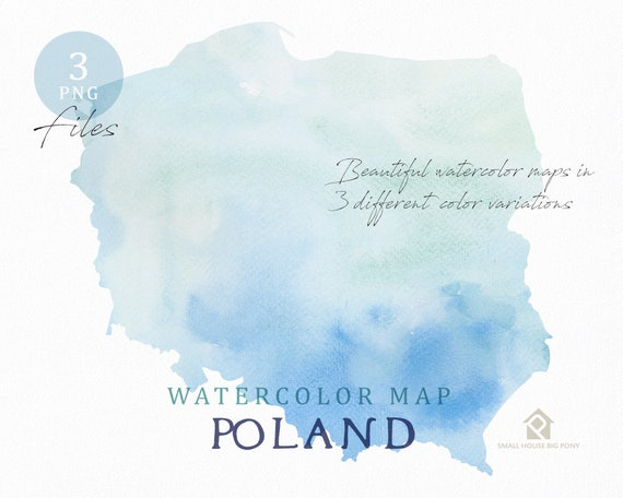 Poland Map, Watercolor Map, Instant Download, Digital Map, Map Clipart, Wall Art, Color Map Clip Art, Custom Map, Watercolor Map