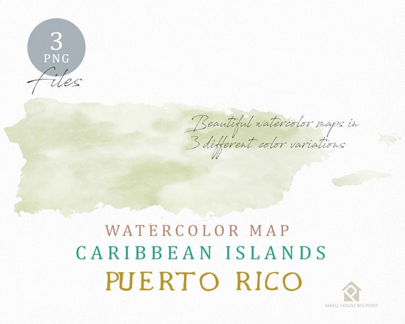 Puerto Rico Map, Watercolor Map, Instant Download, Digital Map, Map Clipart, Wall Art, Color Map Clip Art, Custom Map, Watercolor Map