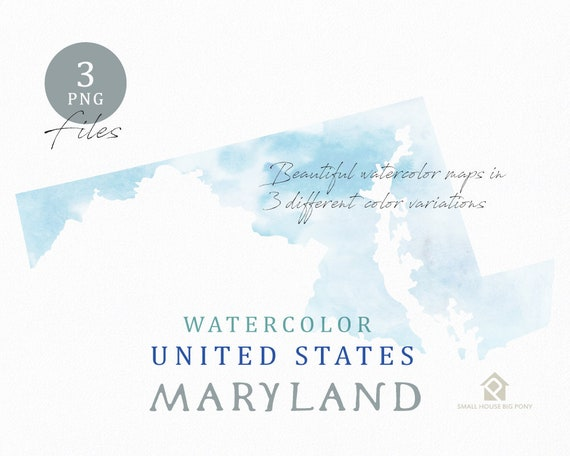 Maryland Map, Watercolor Map, Digital Map, Map Clipart, Wall Art, Color Map Clip Art, Custom Map, Watercolor Map