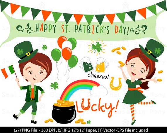 St. Patrick's Day Clipart Vector Pack - St. Patrick's Design PNG & EPS Vectors Digital Scrapbook Shamrock Rainbow Irish St Patricks Clip Art
