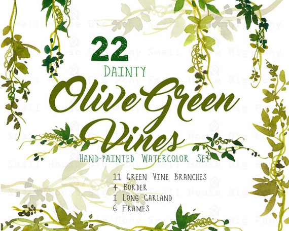 Digital Green Vines Clip Art. Green Laurel Wreath and Leaves Clipart. Vine Frames and Borders for Wedding- Dainty Olive Green Vines