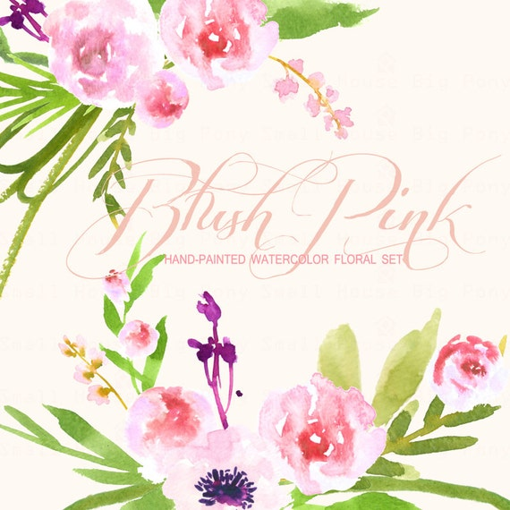 Flowers ,Hand Painted Watercolor Clipart Clip Art -Pastel Roses, blossom rose red pink, Blush Pink Roses
