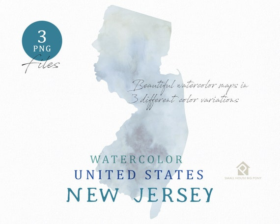 New Jersey Map, Watercolor Map, Digital Map, Map Clipart, Wall Art, Color Map Clip Art, Custom Map, Watercolor Map