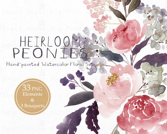 Digital Clipart- Watercolor Flower Clipart, peonies Clip art, Floral Bouquet Clipart, wedding flowers clip art- Heirloom Peonies