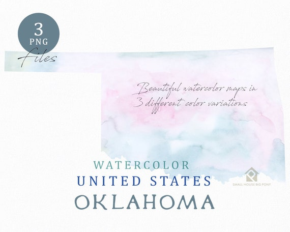 Oklahoma Map, Watercolor Map, Digital Map, Map Clipart, Wall Art, Color Map Clip Art, Custom Map, Watercolor Map